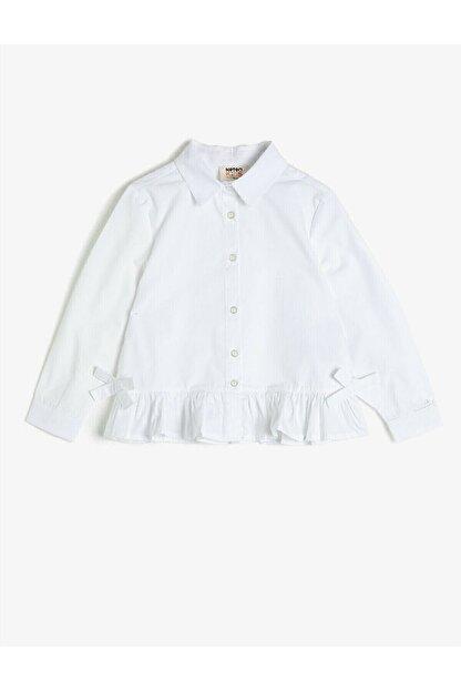 Koton Koton Kız Çocuk Fırfırlı Düğmeli Beyaz Gömlek 1kkg67986aw