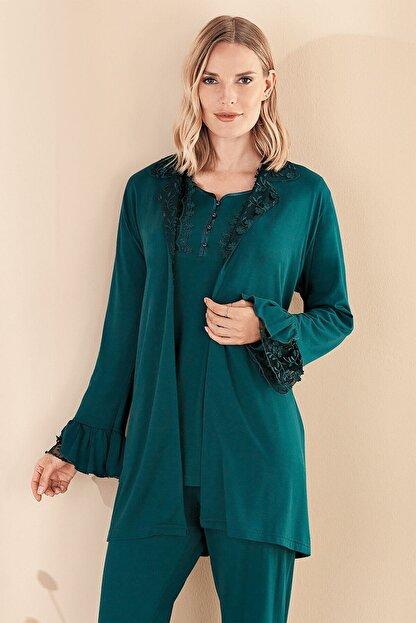 Lohusa Sepeti Fc Fantasy 1329 Francesca Zümrüt Yeşil Sabahlıklı Lohusa Pijama Takımı