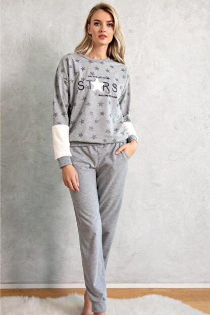 LİNGABOOMS 1087 Ev Giyimi Uzun Kol Bisiklet Yaka Kadın Iki Iplik Nakış Peluş Detaylı Pijama Takımı