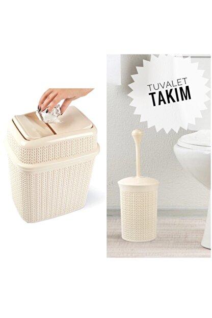 Yellowish Örgü Desen Girdap Çöp Kovası 5 L + Tuvalet Fırçası Takım