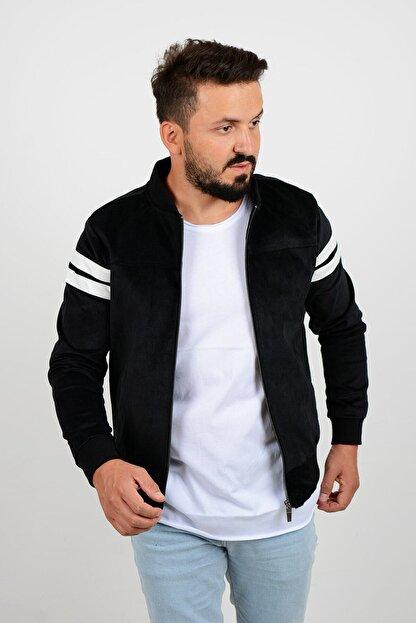 Edwox Kolları Şeritli Kadife Slim Fit Mevsimlik Ceket Siyah