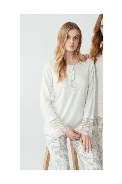 Feyza 3776 Kadın Gri Desenli Pijama Takımı
