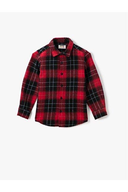 Koton Erkek Çocuk Kırmızı Klasik Yaka Ekoseli Uzun Kollu Gömlek