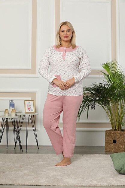 Akasya Kadın Uzun Kollu Yaka Düğmeli Cep Detaylı Çiçekli Büyük Beden Pijama Takım