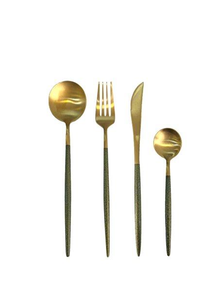 ACAR Mat Altın Yeşil 24 Parça Çatal Kaşık Bıçak Seti