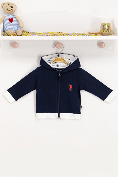 US Polo Assn Erkek Çocuk Mavi Kapüşonlu Hırka