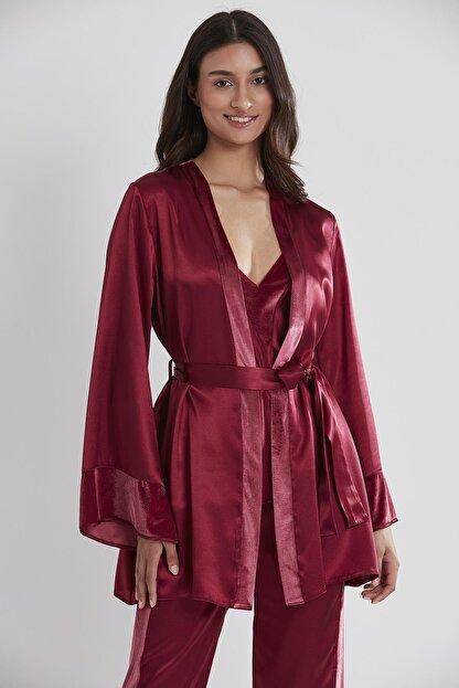 Pierre Cardin Kadın Kadife Saten 3'lü Pijama Takım - 2040 Bordo