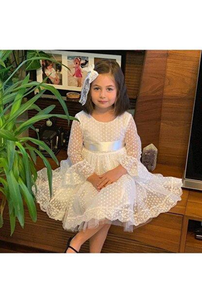 Pumpido Beyaz Dantelli Kız Çocuk Elbise