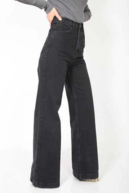 MADAME X Kadın Siyah Bol Paça Ekstra Yüksek Bel Kot Pantolon