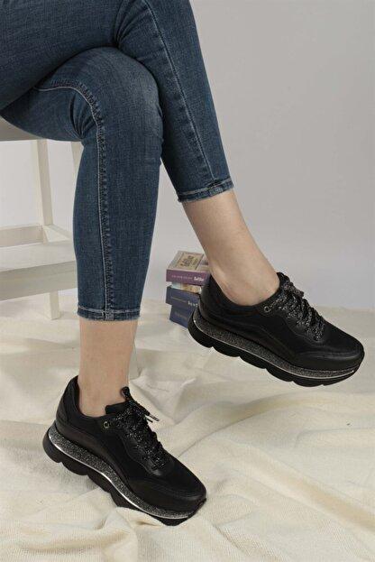 Ayakkabım Elimde Belda Siyah Yüksek Taban Spor Ayakkabı