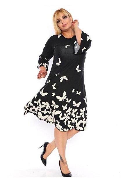 Şirin Butik Kadın Siyah Kelebek Desen Volan Kol Krep Elbise