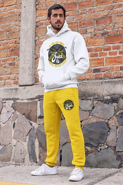 Angemiel Wear Jazz Ve Saksafon Erkek Eşofman Takımı Beyaz Kapşonlu Sweatshirt Sarı Eşofman Altı