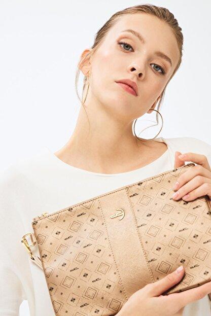 Deri Company Kadın Basic Clutch Çanta Monogram Desenli Şeritli Logolu Altın 214002