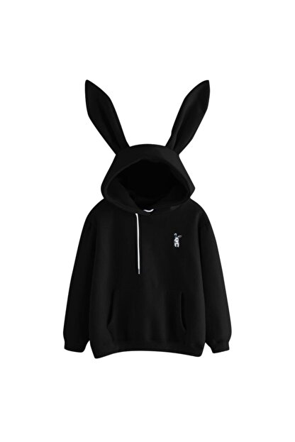 öz taha Ufak Tavşan Siyah Bayan Sweatshirt