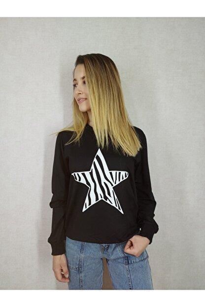 Modern Giyin Yıldız Baskılı Bayan Sweatshirt