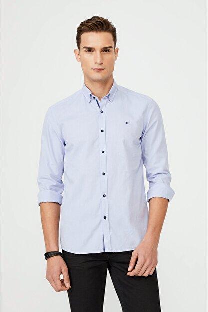 Avva Erkek Mavi Düz Alttan Britli Yaka Slim Fit Gömlek A02y2244