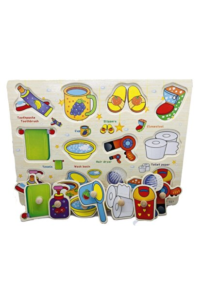 TOYS&TOYS Ahşap Tutmalı Eğitici Banyom Seti Puzzle Okul Öncesi Eğitici Bultak Puzzle