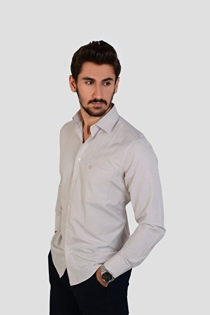 DOTTMEN GÖMLEK Kareli Krem İtalyan Yaka Erkek Gömlek