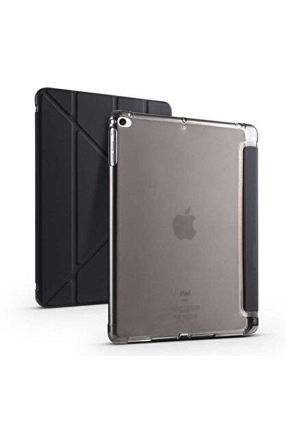 carına vannı Apple Ipad 9.7 2018 Uyumlu Siyah,kalem Bölmeli Katlanabilir Tablet Kılıfı,standlı Kılıf Pnd