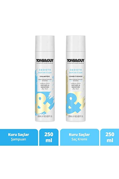 Toni Guy Kuru Saçlar Için Şampuan 250 ml + Saç Bakım Kremi 250 ml