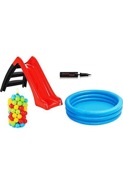 PİLSAN Vardem Kaydıraklı Oyun Seti (Mavi Havuz / 6 Cm 100'lü Oyun Havuz Topu / Pompa / Kırmızı Kaydırak)