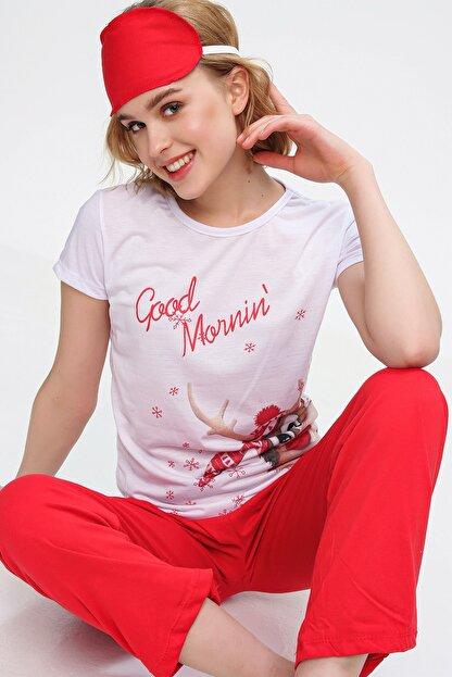 Trend Alaçatı Stili Kadın Beyaz Uyku Bantlı Bisiklet Yaka Geyik Baskılı Kısa Kol Pijama Takım ALC-X5585