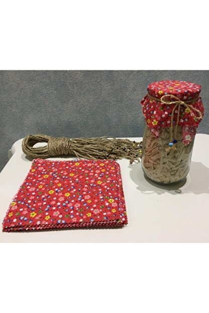 El Emeği 50 Adet Kırmızı Kavanoz Kapağı Kumaşı (Örtüsü) Ve Boncuklu Bağlama Ipi