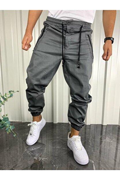 İnsane Minds Erkek Gri Jogger Fermuar Detaylı Pantolon
