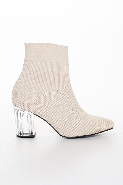 GULT Kadın Triko Bot, Streç Kadın Bot. Topuklu Çorap Bot. Bej Bot & Bootie