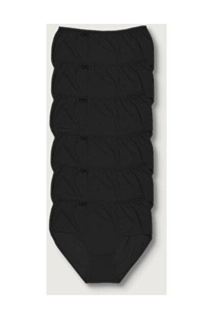 Tutku Kadın Siyah 6'lı Paket Likralı Bato Külot Elf568t0924ccm6 Siyah 2xl