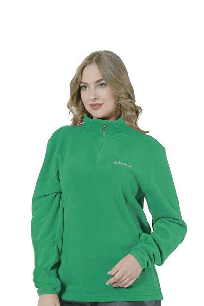 LETOON Kadın Yeşil Yarım Fermuarlı Polar