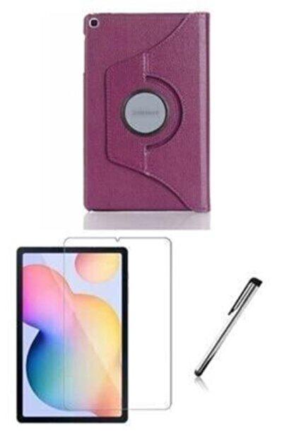 "E TicaShop Galaxy Tab A7 10.4"" Sm-t500 Sm-t507 Kılıf Set ( Kılıf+ Temperli Cam + Kalem ) Mor"