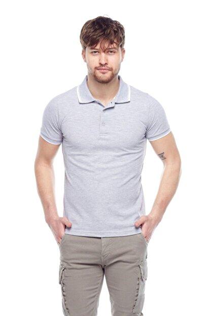Tena Moda Erkek Gri Melanj G-1 Polo Yaka Tişört