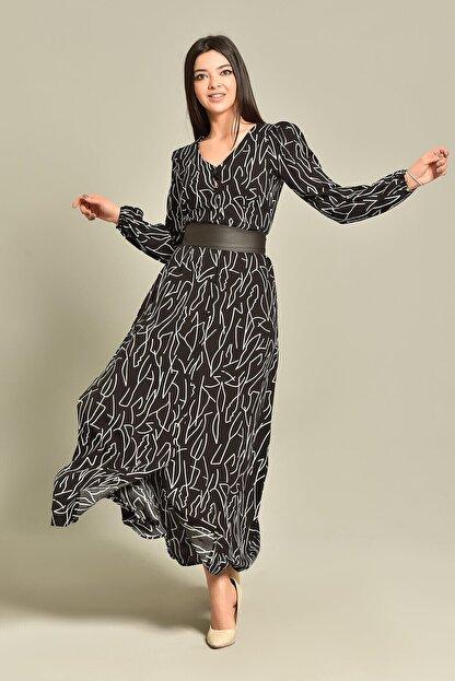 Modakapimda Siyah Kemerli Gömlek Elbise