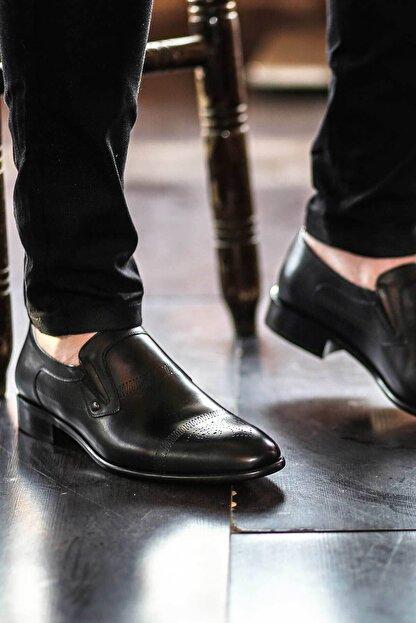 Fast Step Hakiki Deri Kösele Siyah Antik Erkek Klasik Ayakkabı 893ma4404