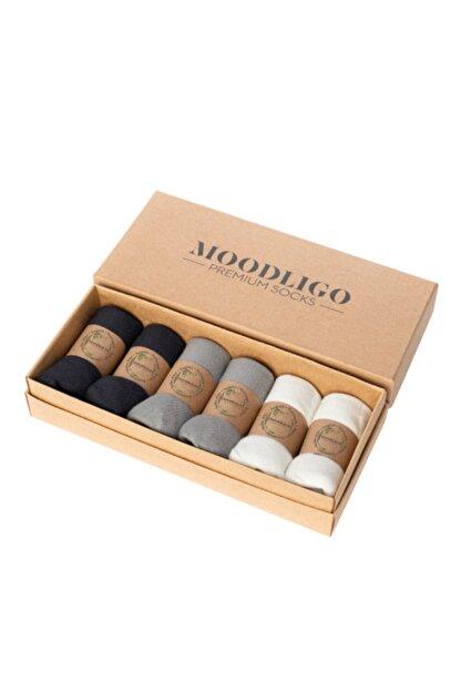 Moodligo Premium 6'lı Bambu Patik Erkek Çorap 2 Füme 2 Gri 2 Beyaz