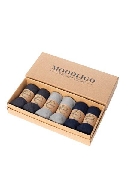 Moodligo Premium 6'lı Bambu Patik Erkek Çorap 2 Füme 2 Lacivert 2 Gri