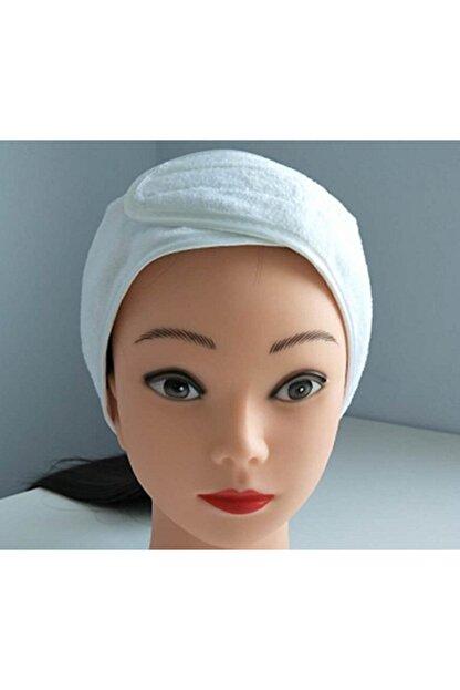 Nevateks Tekstil %100 Pamuklu Etrafı Biyeli Cırt Bantlı Beyaz Bayan Makyaj Saç Bantı 58x9 Cm