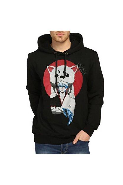 Bant Giyim - Gintama Siyah Kapüşonlu Sweatshirt