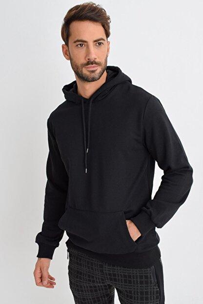 Tena Moda Erkek Siyah Kapüşonlu Kanguru Cep Basic Sweatshirt