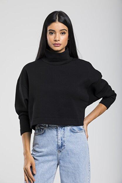 TAKE7 Kadın Siyah Boğazlı Örme Sweatshirt