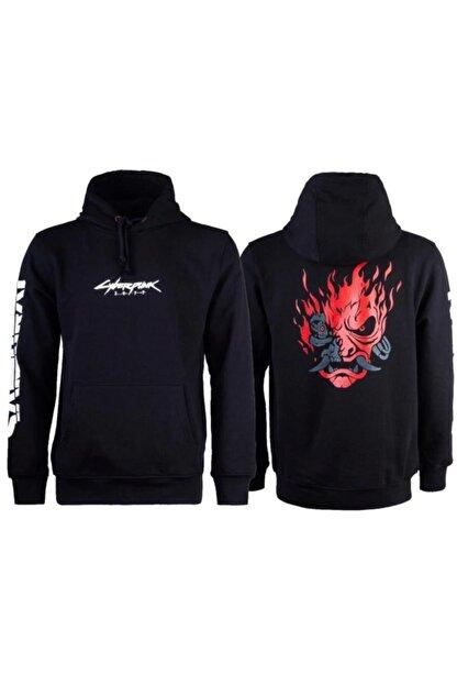Bant Giyim - Cyberpunk 2077 Samurai Siyah Kapşonlu Sweatshirt