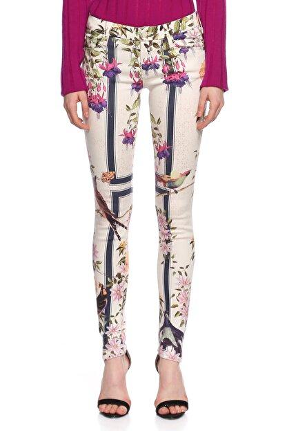 Mother Çiçek Desenli Skinny Beyaz Jean Pantolon