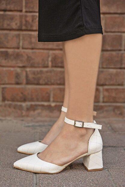 Straswans Holly Deri Kapitoneli Topuklu Ayakkabı Beyaz