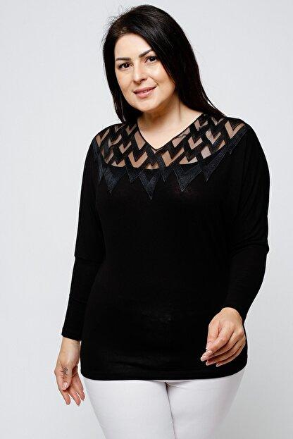 Ebsumu Kadın Büyük Beden Yakası Işlemeli Yarasa Kol Siyah Bluz