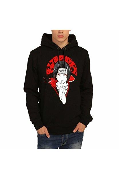 Bant Giyim - Naruto Itachi Siyah Kapşonlu Erkek Sweatshirt