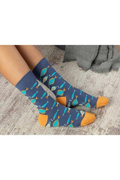 English Home Fish Effect Pamuk Kadın Çorap Mavi