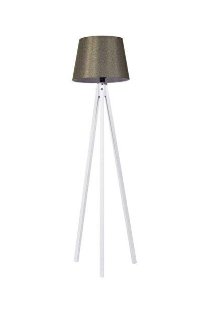 Modamonline Kumaş Lambader 3 Ayaklı Ahşap Lamba Tripod Abajur Haki Yeşil Beyaz