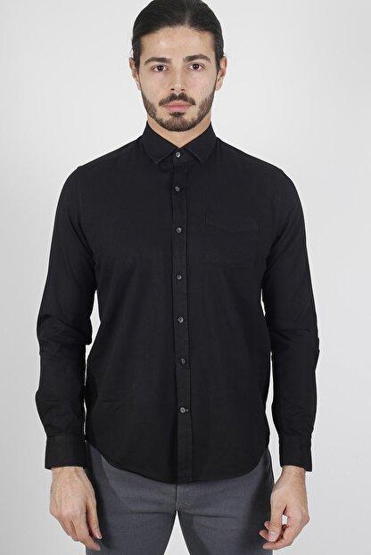 Jakamen Siyah Slim Fit Tek Cepli Desenli Gömlek