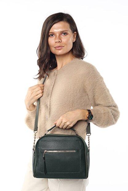 Madamra Aynı Butikte 2.Ürün 1 TL Yeşil Kadın Çok Bölmeli Omuz Çantası Çapraz Çanta ve El Çantası